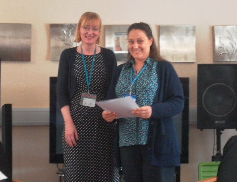 Jeanette Castle accepting the Supporting Carers in General Practice Certificate on behalf of Prescot Medical Centre